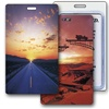Lenticular Standard Luggage Tag with Clear Plastic Loop, Flip Changing Highway Bridge, LT01-203