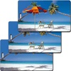 Lenticular Standard Luggage Tag with Clear Plastic Loop, an empty beach to a chair and umbrella on the beach, LT01-204