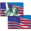 Lenticular Standard Luggage Tag with Clear Plastic Loop, Flips from an image of the American flag to the Statue of Liberty in front of the flag, LT01-206