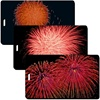Lenticular Standard Luggage Tag with Clear Plastic Loop, Flips from an image of a orange firework to a red firework to two red fireworks, LT01-208