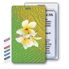 Lenticular Standard Luggage Tag with Clear Plastic Loop, 3D image of a white flower against a green/ yellow pattern background, LT01-213