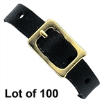 Lot of 100 Black Leather Luggage Tag Strap Loop