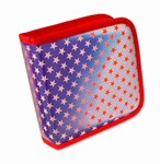 Lenticular CD DVD Case / Wallet (Holds 24), Changing Image Pattern,  Red, White, Blue, Star,  R-012R-CD24