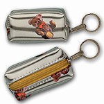 3D Lenticular Key Chain, Key Ring, Lipstick Case, Coin Purse, Changing Image Pattern , 3D Teddy, Ted Bear on Silver, R-109-Globi