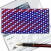 3D Lenticular Check Book Cover, American Flag, USA, Red, Whire, Blue