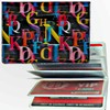 Lenticular ID Card Holder with vinyl insert of six frosted pockets, Changing Letters , Black, Red, Blue