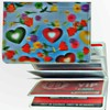 Lenticular ID Card Holder with vinyl insert of six frosted pockets, 3D Love Harts With Flowers, Red,Green Yellow