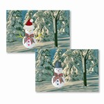 "Lenticular Postcard 4 3/4 ""x6 1/8"" , Happy Holiday,Christmas and New Year Card, Magic Snowman, Stanta Hat, 901-PC"