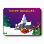 "Lenticular Magnet 4 3/4 ""x6 1/8"" , Happy Holiday, Lenticular animated Picture, Christmas and New Year Card, Santa Claus and Ring Dear ,  977-PC 1-977-MAL"