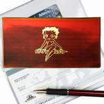 Betty Boop Lenticular Checkbook Cover, Yellow Orange with Golden Betty Boop Image