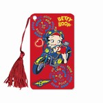 "Betty Boop Lenticular Bookmark with Tassle 2""x4"", Changing Biker Girl Image, Red"