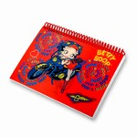"Betty Boop Lenticular Spiral Bound Notebook, 4""x6"", Blank, 144 Pages, Changing Biker Girl Image, Red"
