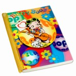 "Betty Boop Lenticular Ultra Spacious Spiral Bound Notebook, 6""x9"", College Ruled, 200 Pages, 3D Hippy Guitarist Image, Rainbow"