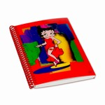 "Betty Boop Lenticular Spiral Bound Notebook, 4""x6"", Blank, 144 Pages, Abstract 3D Image, Red"