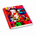 "Betty Boop Lenticular Spiral Bound Notebook, 4""x6"", Blank, 144 Pages, 3D Movie Star Mosaic Image, Rainbow"