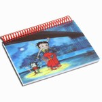 "Betty Boop Lenticular Spiral Bound Notebook, 4""x6"", Blank, 144 Pages, 3D Betty Boop Rock n Roll under New York Brooklyn"