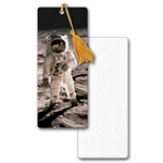 3D Lenticular Bookmark Book Mark Astronaut on Moon in Space Earth