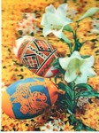 3D Lenticular POSTCARD - EASTER EGGS and LILIES
