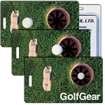 Lenticular Standard Luggage Tag with Clear Plastic Loop, Animated image shows a a Glof Ball rolling into a hole by a glof driver Item# LT01-218