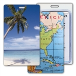 Lenticular Standard Luggage Tag with Clear Plastic Loop, Flip Palm Tree and Map of Florida/USA LT01-227