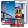 Lenticular Standard Luggage Tag with Clear Plastic Loop, Lenticular Standard Luggage Tag with Clear Plastic Loop, Lenticular Flip Change image from San Francisco Cable Car to Golden Gate Bridge, California Travel Theme, LT01-229