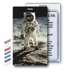 Lenticular Standard Luggage Tag with Clear Plastic Loop, 3D image of an astronaut on the moon, LT01-401 Vivid imagery of space and the moon.