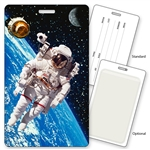 Lenticular Standard Luggage Tag with Clear Plastic Loop, 3D Astronaut Floating in Space LT01-402