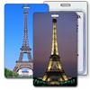 Lenticular Standard Luggage Tag with Clear Plastic Loop,  Flip Change image from Daytime to Night time of  Eiffel Tower in Paris Travel Theme, LT01-602