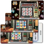 Lenticular Standard Luggage Tag with Clear Plastic Loop, Horizontal animated slot machine image.  When tilted the handle is pulled and the slot machine hits the jackpot and chips appear, LT01-951H