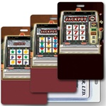 Lenticular Standard Luggage Tag with Clear Plastic Loop, Vertical animated slot machine image.  When tilted the handle is pulled and the slot machine hits the jackpot and chips appear, LT01-951V