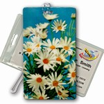 3D Lenticular All Weather Luggage Tag with Clear Plastic Loop, 3D Image, Flowers, Daisy