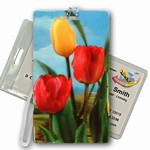 3D Lenticular All Weather Luggage Tag with Clear Plastic Loop, 3D Image, Flowers, Tulips