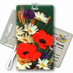 3D Lenticular All Weather Luggage Tag with Clear Plastic Loop, 3D Image, Flowers, County Flowers