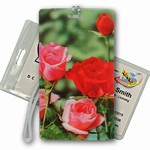 3D Lenticular All Weather Luggage Tag with Clear Plastic Loop, 3D Image, Flower, Roses