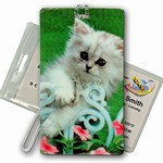 3D Lenticular All Weather Luggage Tag with Clear Plastic Loop, 3D Image, Cat, Looking For A Friend