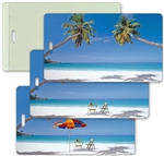 Lenticular All-Weather Luggage Tag with Clear Plastic Loop, Flip Tropical Desert Island Paradise with Umbrella LT04-204