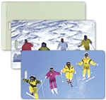 Lenticular All-Weather Luggage Tag with Clear Plastic Loop, Flip Aspen Skiers on Mountain Slopes in the Winter LT04-209