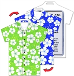 Lenticular T-Shirt Shaped Luggage Tag with Clear Plastic Loop, Flip White Hawaiian Flowers Green & Blue Shirt LTST-357