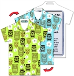 Lenticular T-Shirt Shaped Luggage Tag with Clear Plastic Loop, Flip Tiki Masks & White Hawaiian Flowers Green & Turquoise Shirt LTST-358
