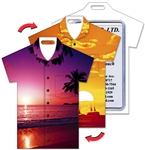 Lenticular T-Shirt Shaped Luggage Tag with Clear Plastic Loop, Flip Tropical Hawaiian Sunset LTST-359