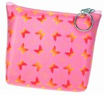 3D Lenticular Coin Purse - Pavia, with YKK Zipper, 3D Butterfly, PInk