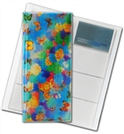 "3D Lenticular 4""x10"" Business Card File (Holds 128), BF128 , Butterfly, SUN Flowers,  Rainbow, Green"