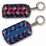 3D Lenticular Key Chain, Key Ring, Lipstick Case, Coin Purse, Changing Image Pattern , 3D Cones Changing Colors, Blue, R-111-Globi