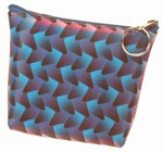 3D Lenticular Coin Purse - Pavia, with YKK Zipper, 3D Moving Cones WITH Changing Color, Blue