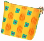3D Lenticular Coin Purse - Pavia, with YKK Zipper, 3D Moving Paw, Yellow, Green