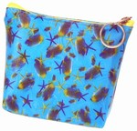 3D Lenticular Coin Purse - Pavia, with YKK Zipper, 3D Moving Star Fish, Blue