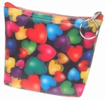 3D Lenticular Coin Purse - Pavia, with YKK Zipper, 3D Moving Colorful Love Hearts, Rainbow