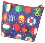 3D Lenticular Coin Purse - Pavia, with YKK Zipper, 3D Moving Colorful Worldwide Country Flages/ Blue