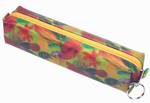 3D Lenticular Pencil Case, GLOBO, Colored Leaves , Red, Green