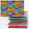 Lenticular ID Card Holder with vinyl insert of six frosted pockets, 3D Happy Faces, Pupple